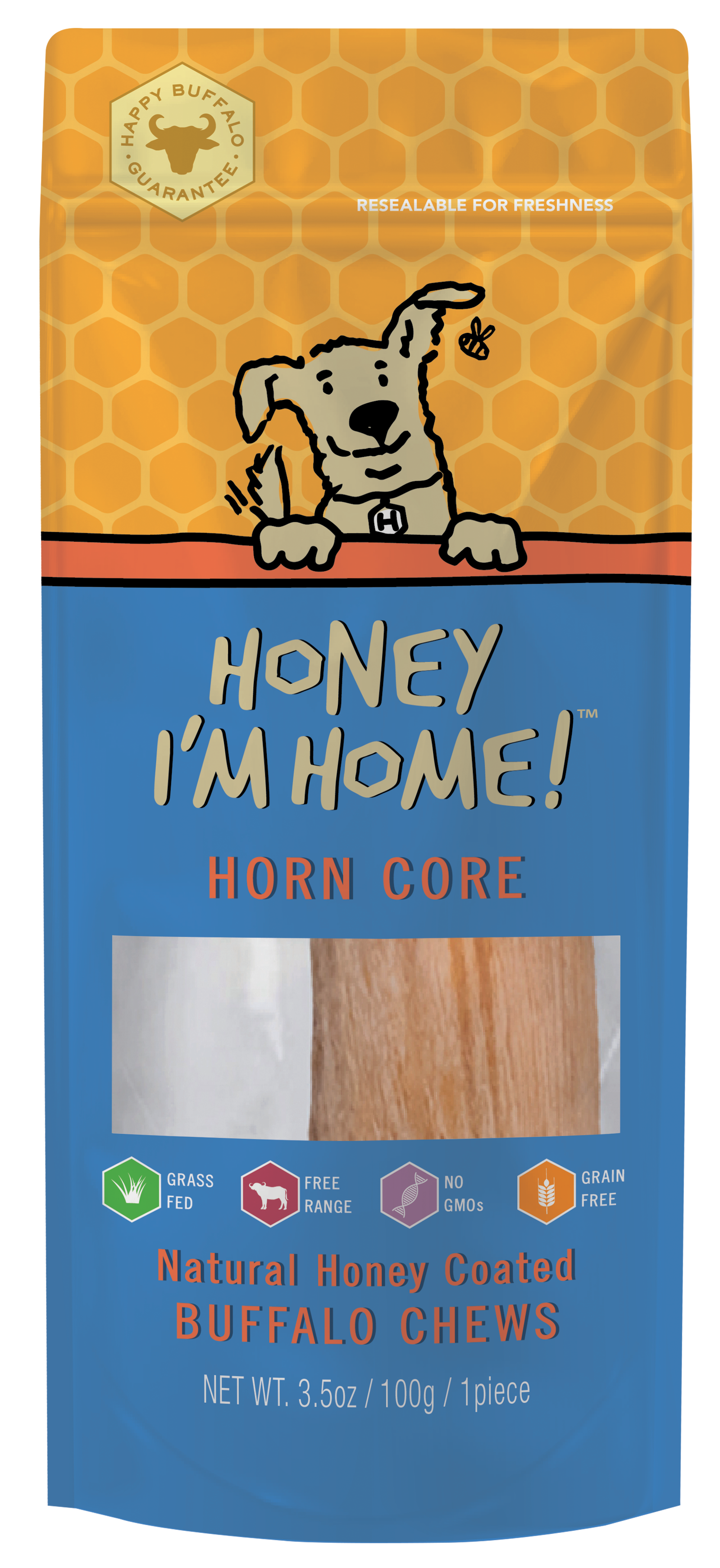 Honey I'm Home Natural Honey Coated Buffalo Horn Core Dog Chews