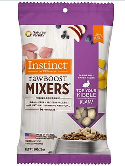 Instinct by Nature's Variety Raw Boost Mixers Rabbit Recipe Freeze-Dried Cat Food Topper, 1-oz bag