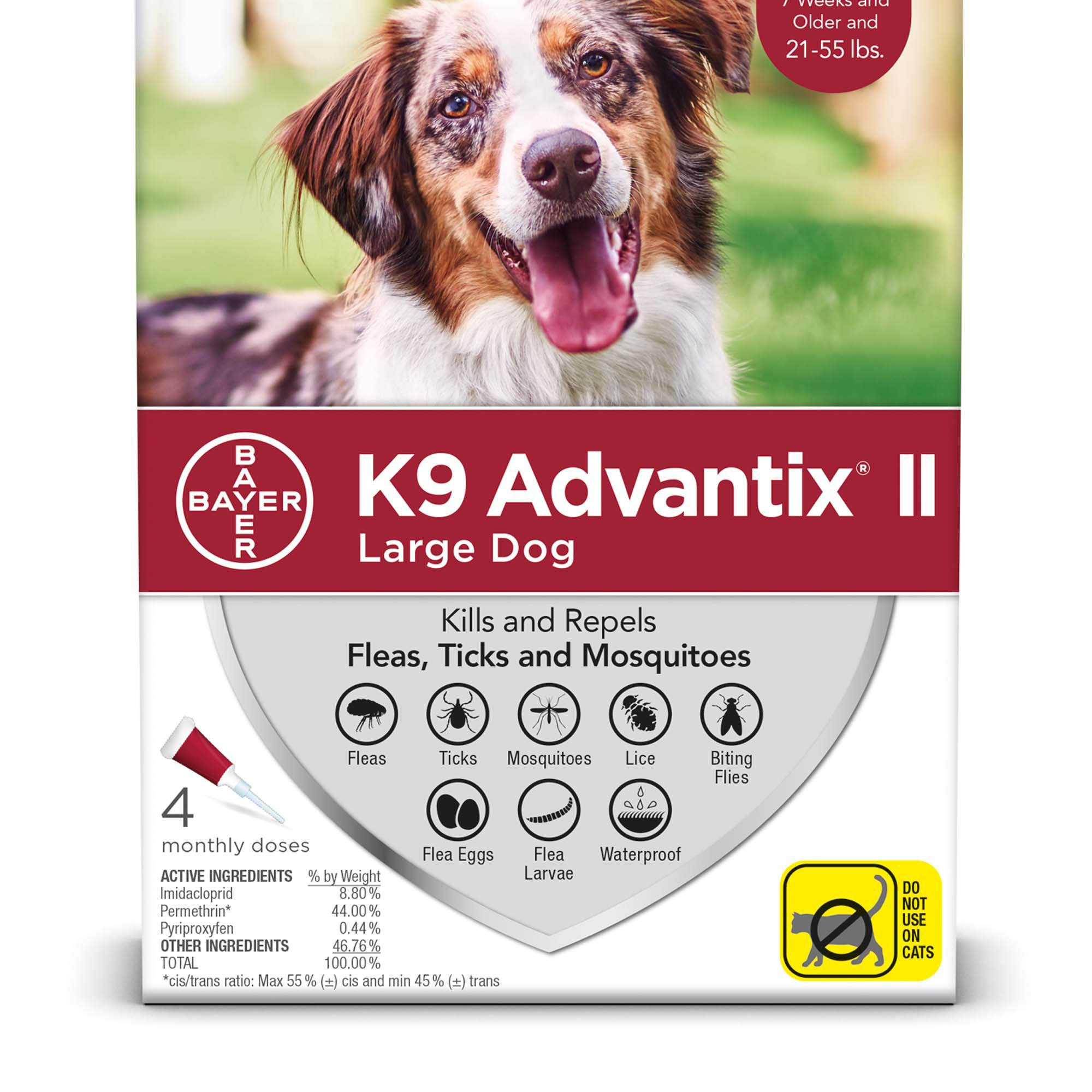 Bayer K9 Advantix II Flea & Tick Treatment for Large Dogs 21-55 lbs, 2 Pack