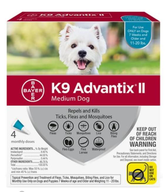 Bayer K9 Advantix II Flea & Tick Treatment for Medium Dogs 11-20 lbs, 2 Pack