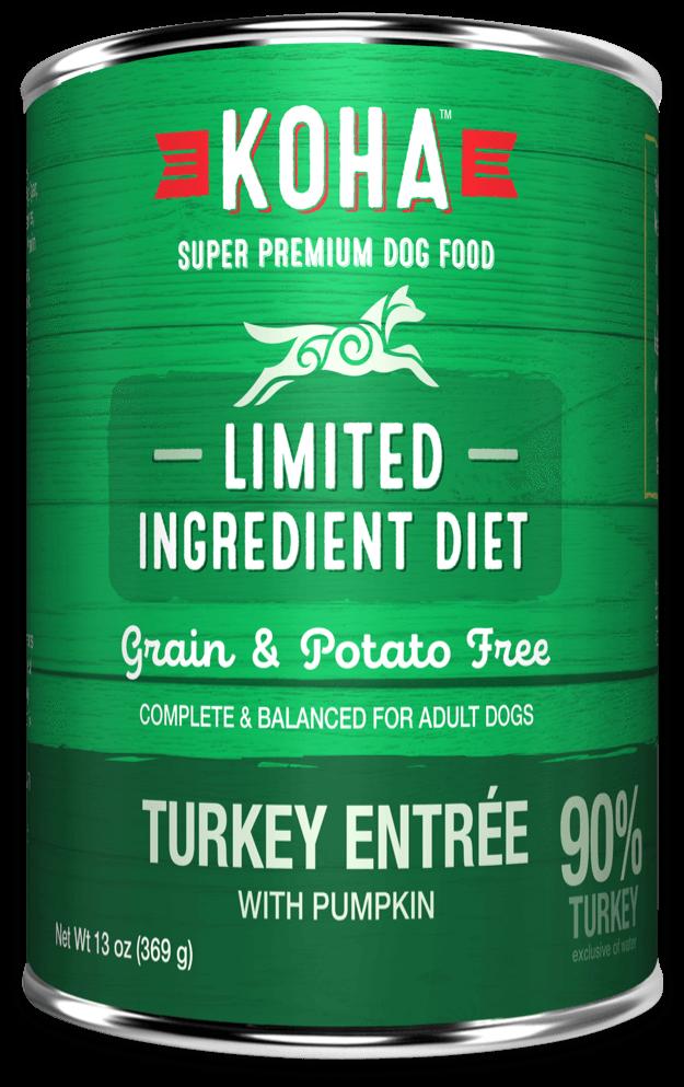 Koha Limited Ingredient Diet Turkey Entrée with Pumpkin Wet Dog Food, 13-oz, case of 12