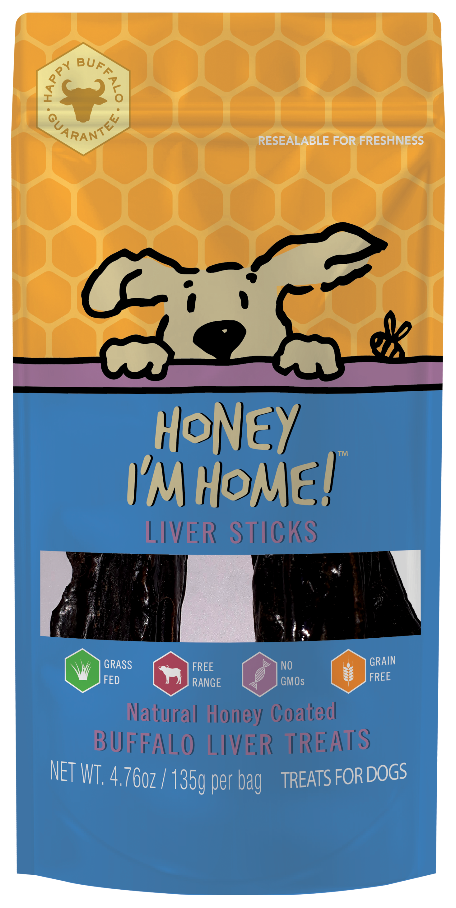 Honey I'm Home Natural Honey Coated Buffalo Liver Sticks Dog Treats