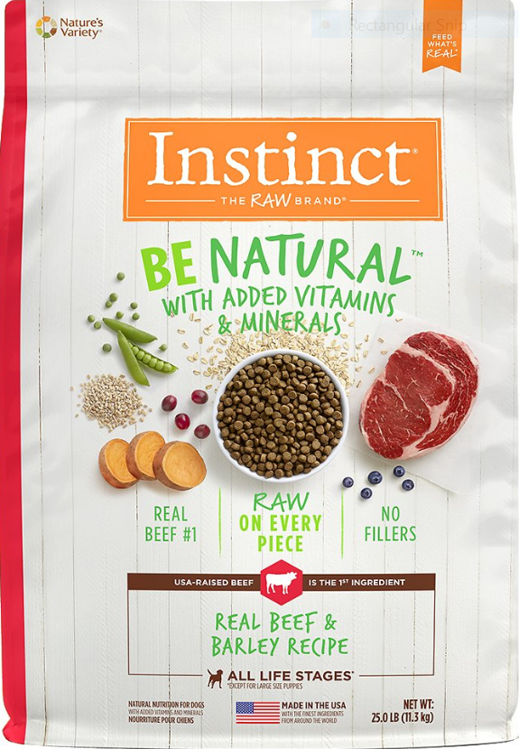 Instinct by Nature's Variety Be Natural Real Beef & Barley for Dogs Food, 25-lb