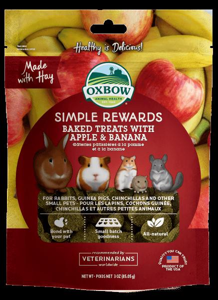 Oxbow Simple Rewards Oven Baked with Apple & Banana Small Animal Treats, 2-oz bag