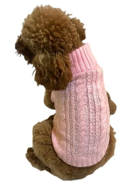 The Dog Squad Scottish Cable Knit Sweater, Pink, X-Small