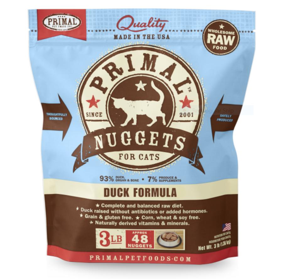 Primal Duck Formula Nuggets Grain-Free Raw Freeze-Dried Cat Food, 3-lb bag