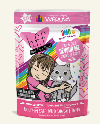 BFF Oh My Gravy! Devour Me Tuna & Duck Dinner in Gravy Grain-Free Wet Cat Food, 3-oz, case of 12
