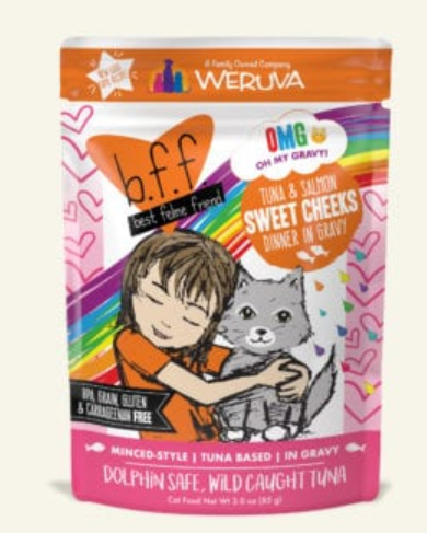 BFF Oh My Gravy! Sweet Cheeks Tuna & Salmon Dinner in Gravy Grain-Free Wet Cat Food, 3-oz