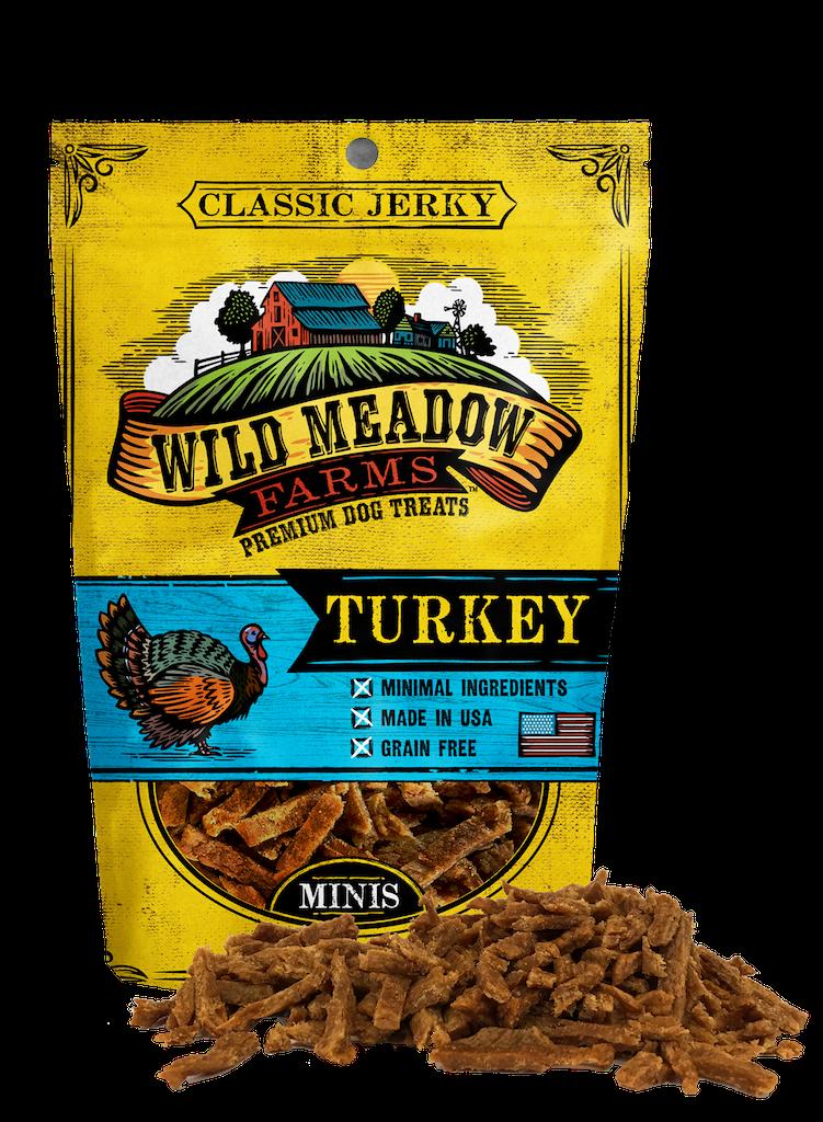 Wild Meadow Farms Classic Jerky Minis Turkey Dog Treats, 4-oz
