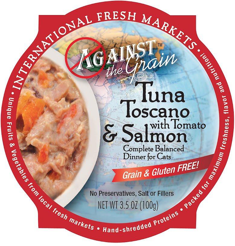 Against the Grain Tuna Toscano with Tomato & Salmon Dinner Grain-Free Wet Cat Food, 3.5-oz