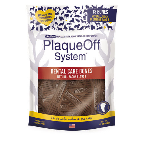 ProDen PlaqueOff System Dog Dental Care Bones Natural Bacon Flavor, 17-oz bag