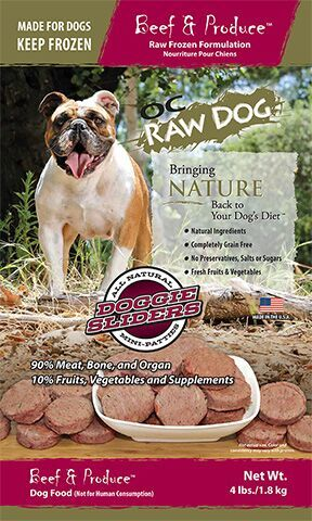 OC Raw Dog Beef & Produce Sliders Raw Frozen Dog Food, 4-lb