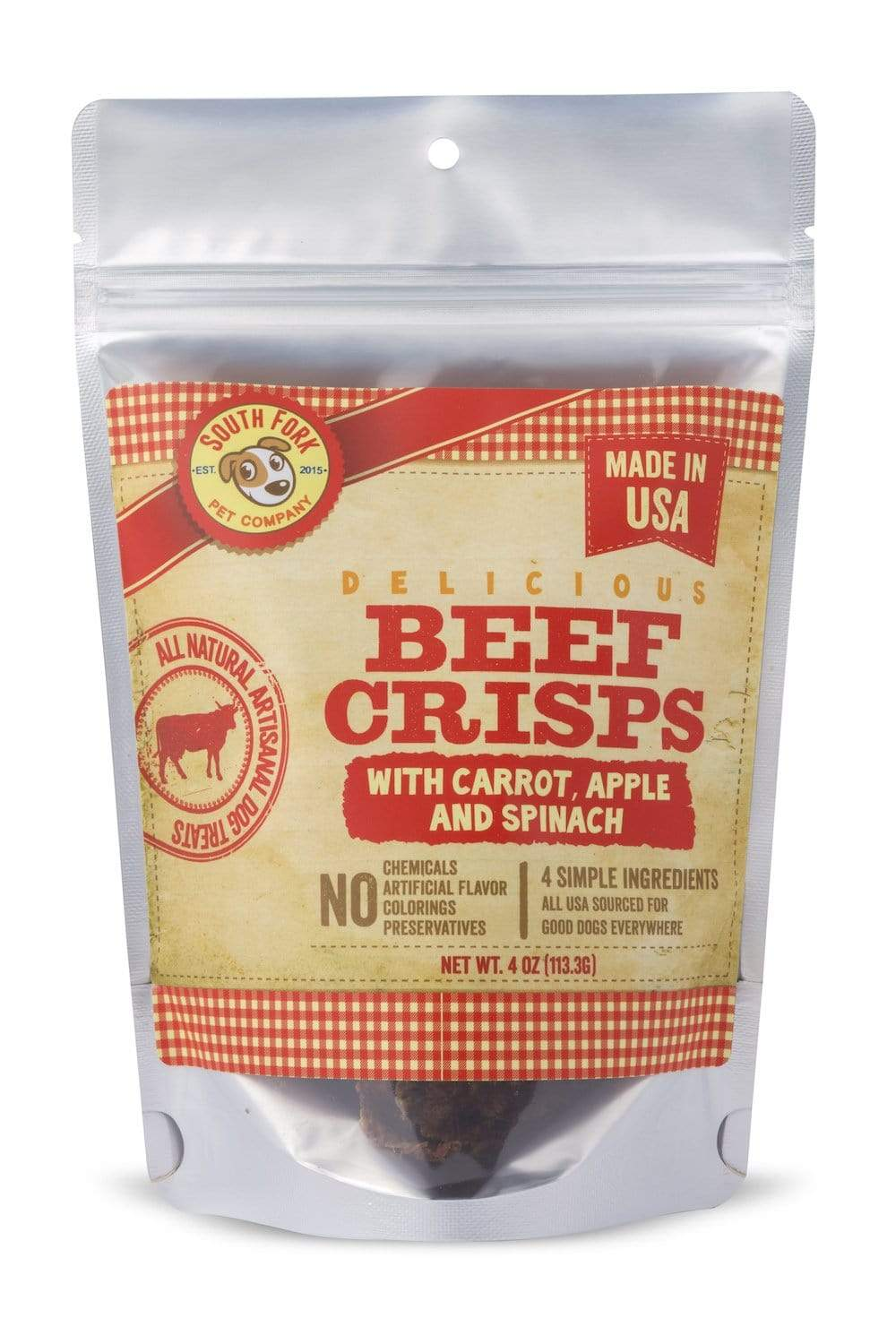 South Fork Beef Crisps with Carrot, Apple & Spinach Dog Treats, 4-oz