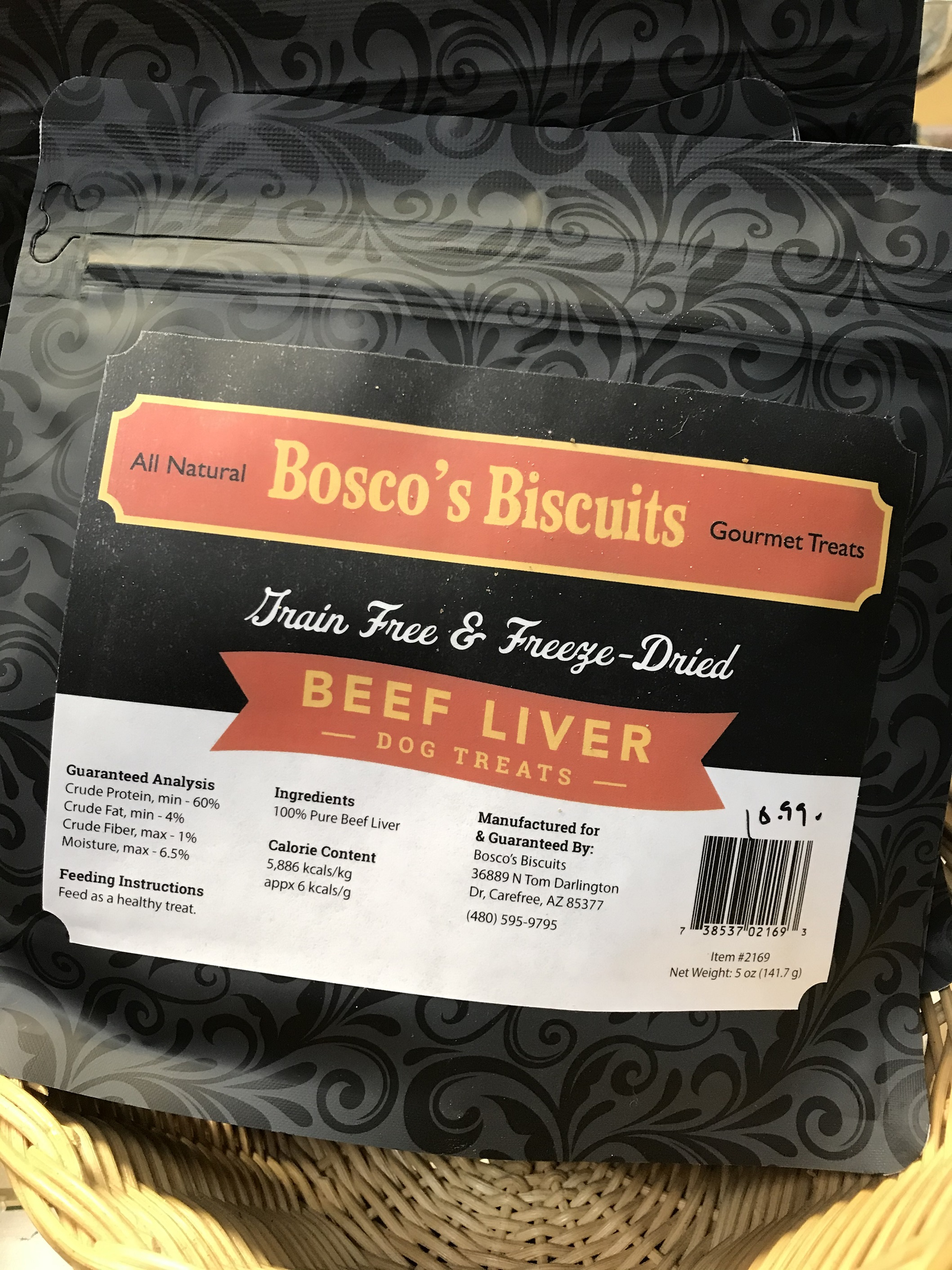 Bosco's Biscuits Gourmet Beef Liver Grain-Free Freeze-Dried Dog Treats, 5-oz