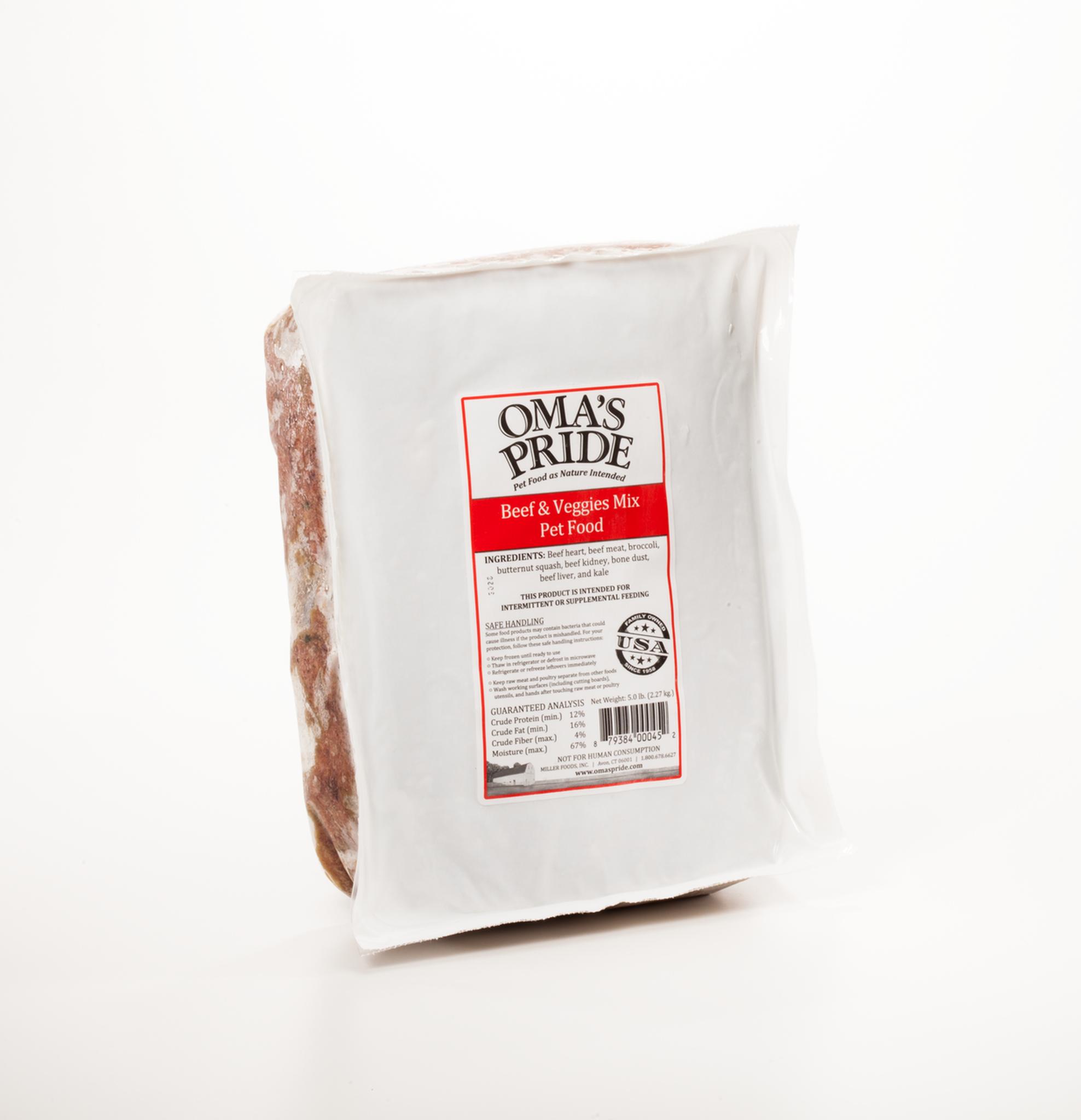Oma's Pride Beef & Veggie Mix Patties Frozen Pet Food, 30-lb