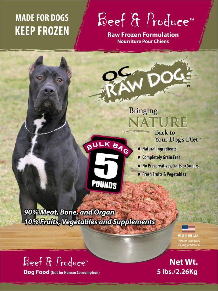 OC Raw Dog Beef & Produce Bulk Bag Raw Frozen Dog Food, 5-lb
