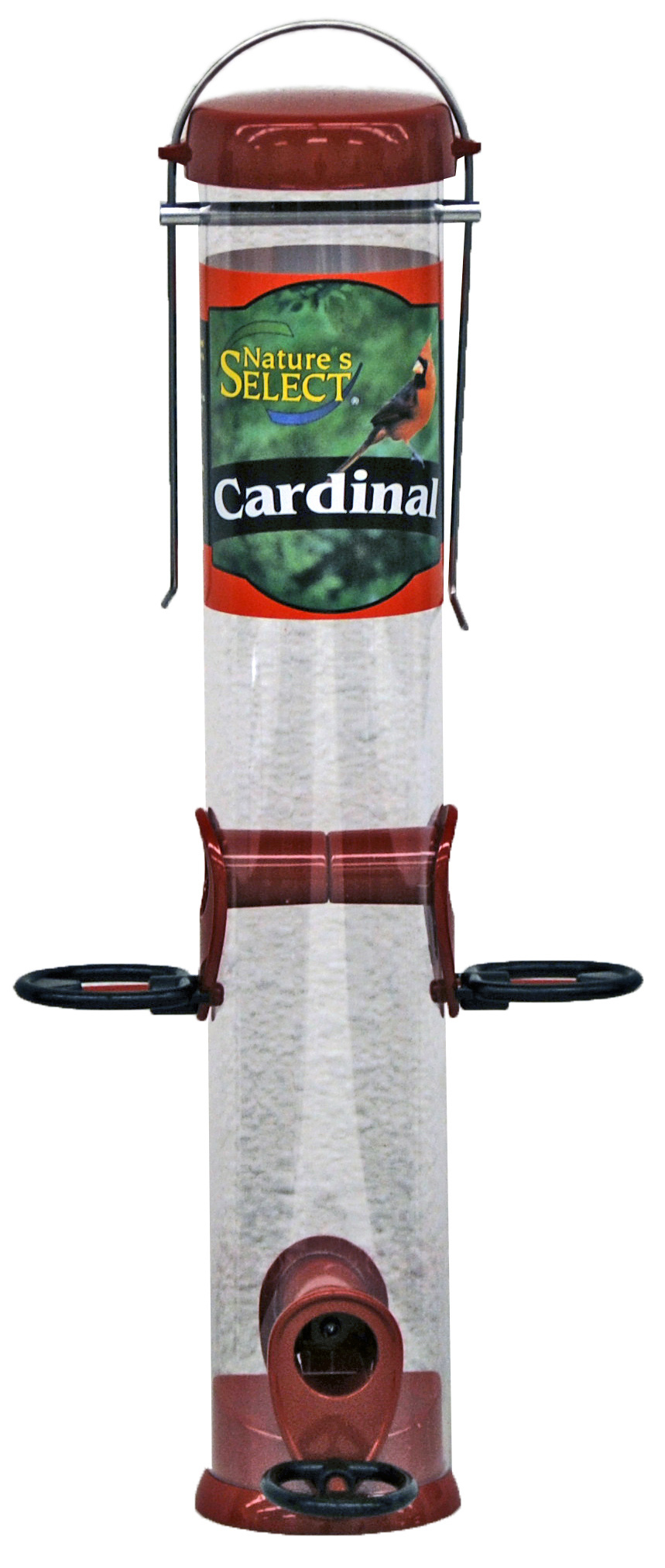 Nature's Select Cardinal Tube Bird Feeder, Red, 15-in