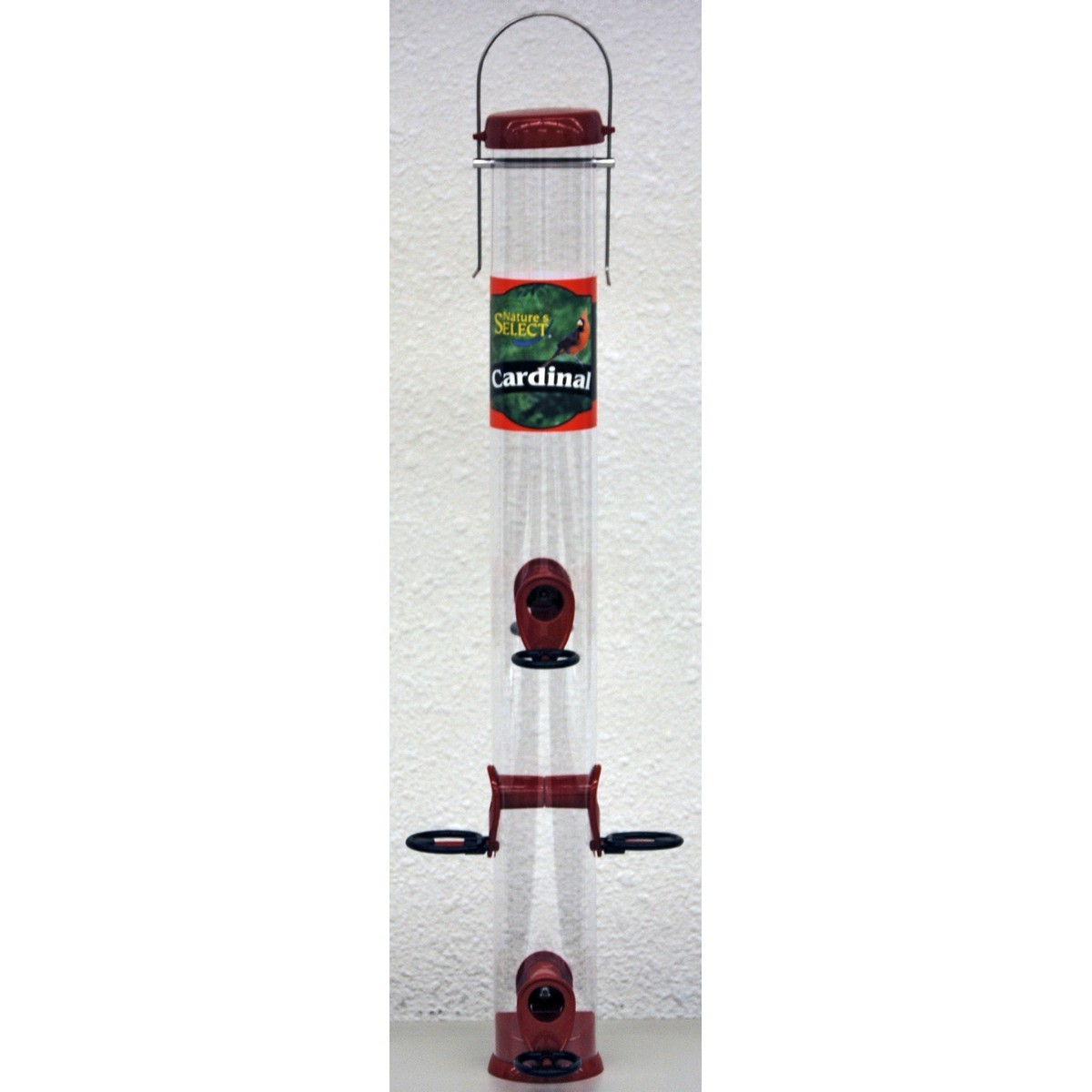Nature's Select Cardinal Tube Bird Feeder, Red, 23-in