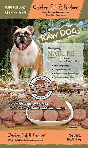 OC Raw Dog Chicken, Fish & Produce Sliders Raw Frozen Dog Food, 4-lb