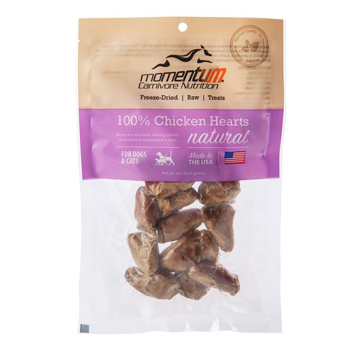 Momentum Freeze-Dried Chicken Hearts for Dogs & Cats, 1-oz bag