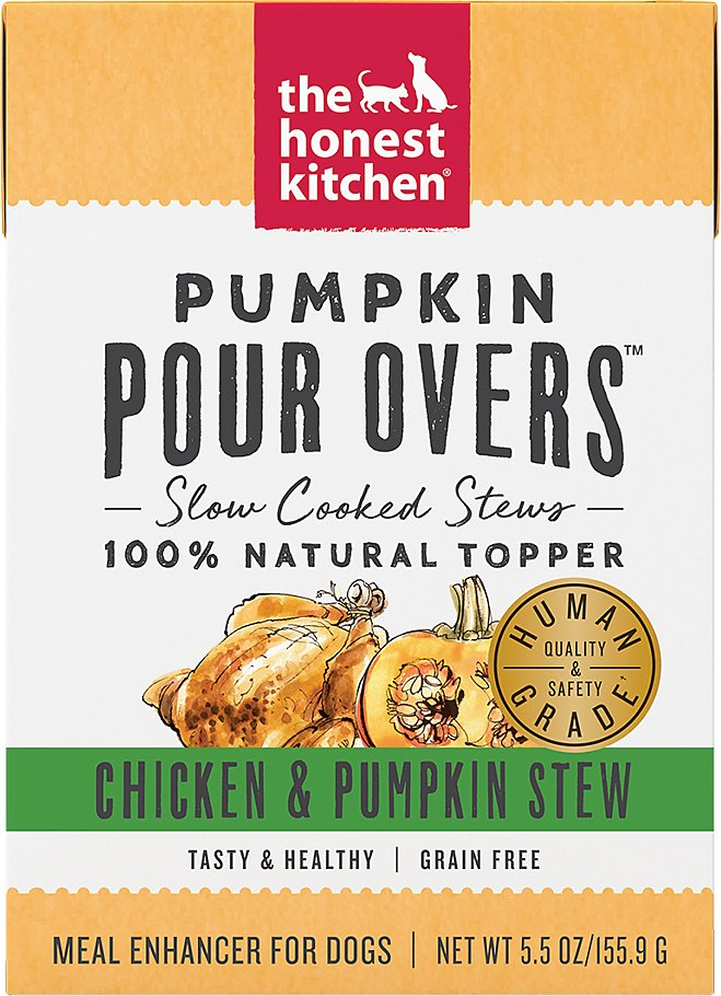 The Honest Kitchen Pour Over Chicken & Pumpkin Stew Topper Dog Food, 5.5-oz, case of 12