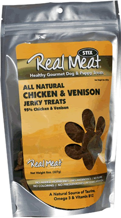 The Real Meat Company 95% Chicken & Venison Jerky Stix Dog Treats, 8-oz bag