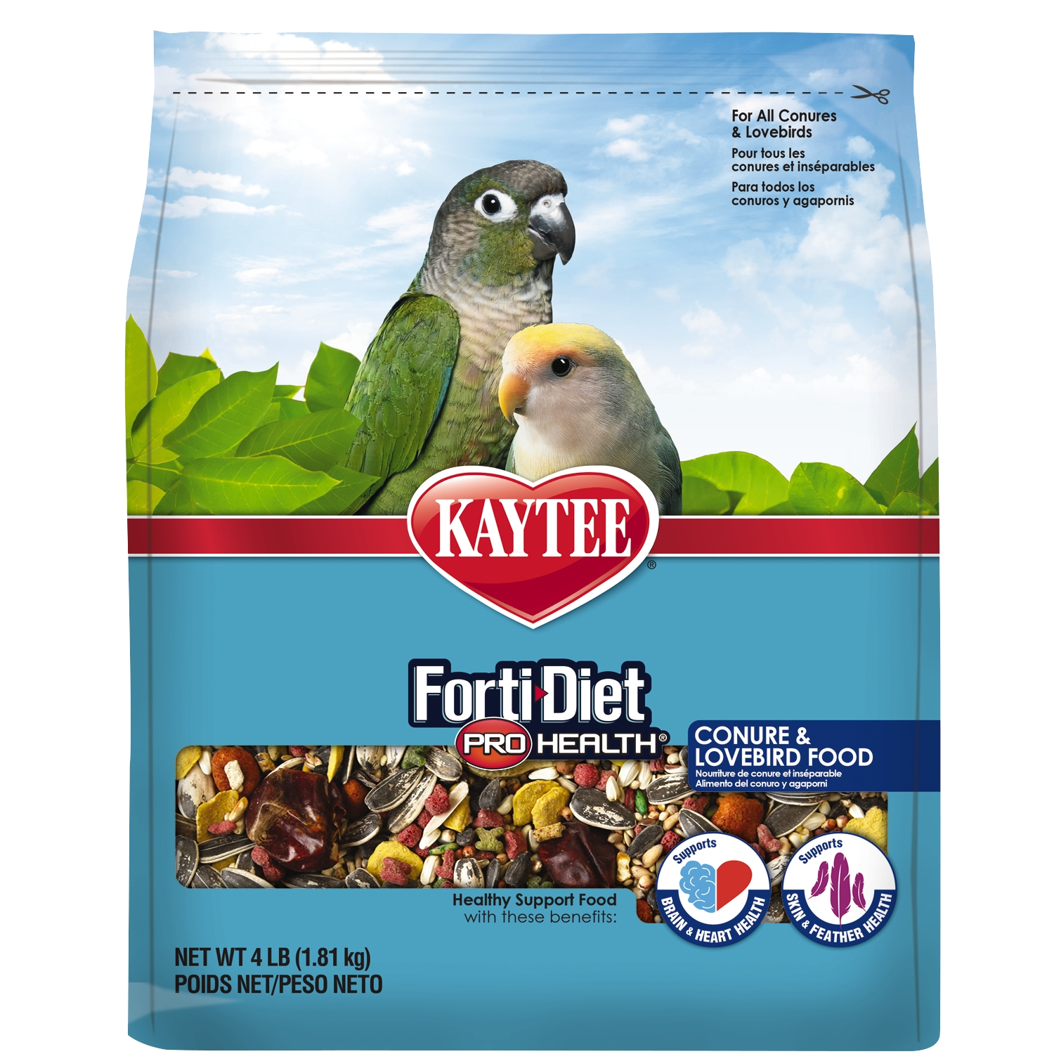 Kaytee Forti-Diet Pro Health Feather Conure & Lovebird Food, 4-lbs