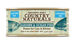 Grandma Mae's Country Naturals Grain-Free Sardine & Ocean Fish Dinner Wet Cat Food, 5.5-oz