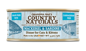Grandma Mae's Country Naturals Grain-Free Mackerel & Sardine Dinner Wet Cat Food, 5.5-oz