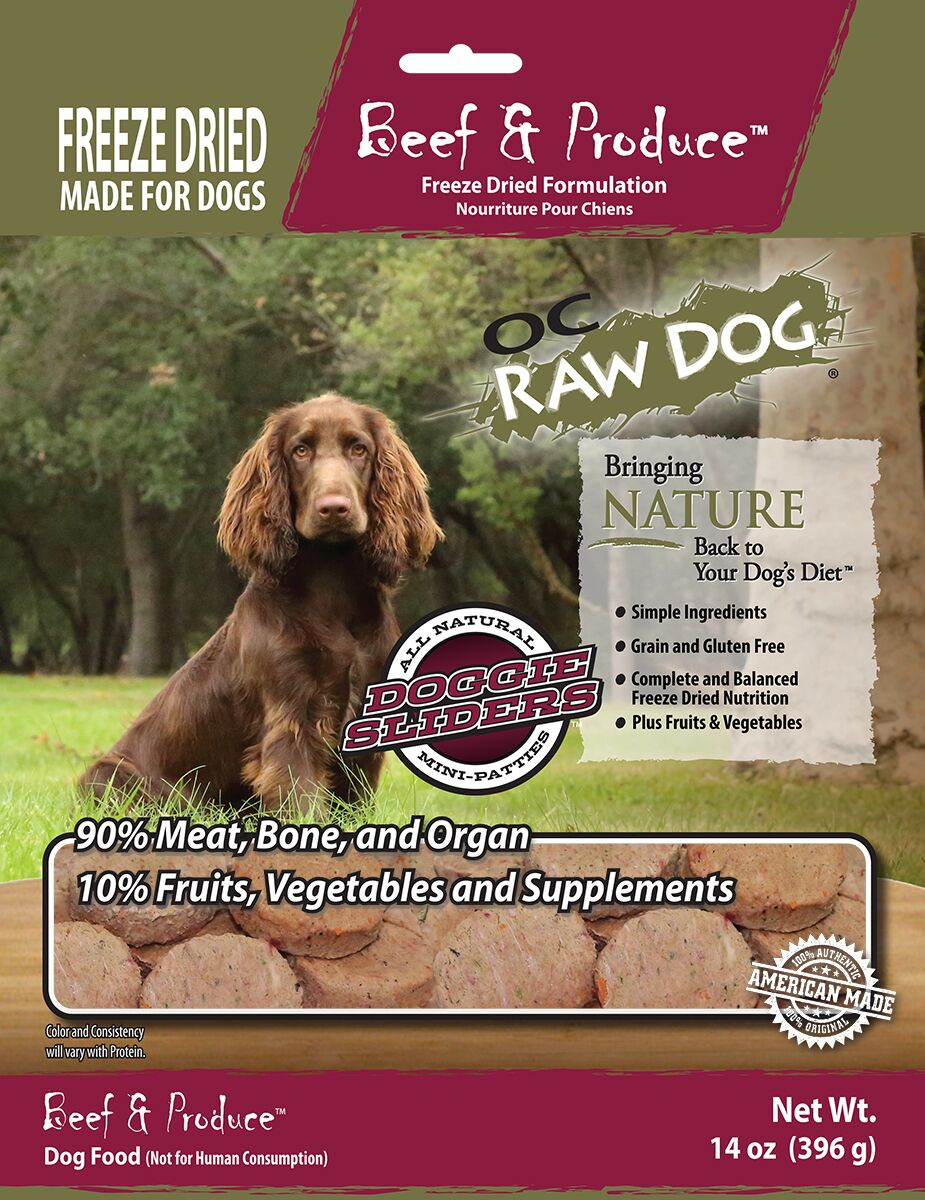 OC Raw Dog Beef & Produce Sliders Raw Freeze-Dried Dog Food, 14-oz