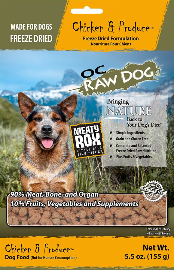 OC Raw Dog Chicken & Produce Meaty Rox Raw Freeze-Dried Dog Food, 5.5-oz