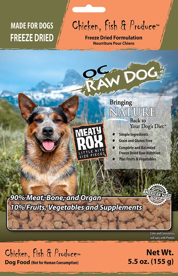 OC Raw Dog Chicken, Fish & Produce Meaty Rox Raw Freeze-Dried Dog Food, 5.5-oz