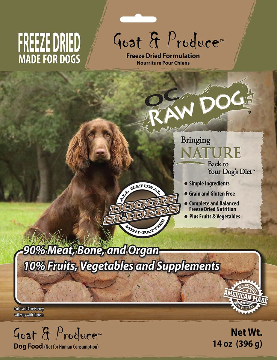 OC Raw Dog Goat & Produce Sliders Raw Freeze-Dried Dog Food, 14-oz