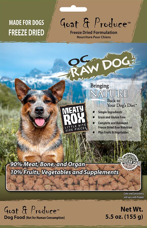 OC Raw Dog Goat & Produce Meaty Rox Raw Freeze-Dried Dog Food, 5.5-oz
