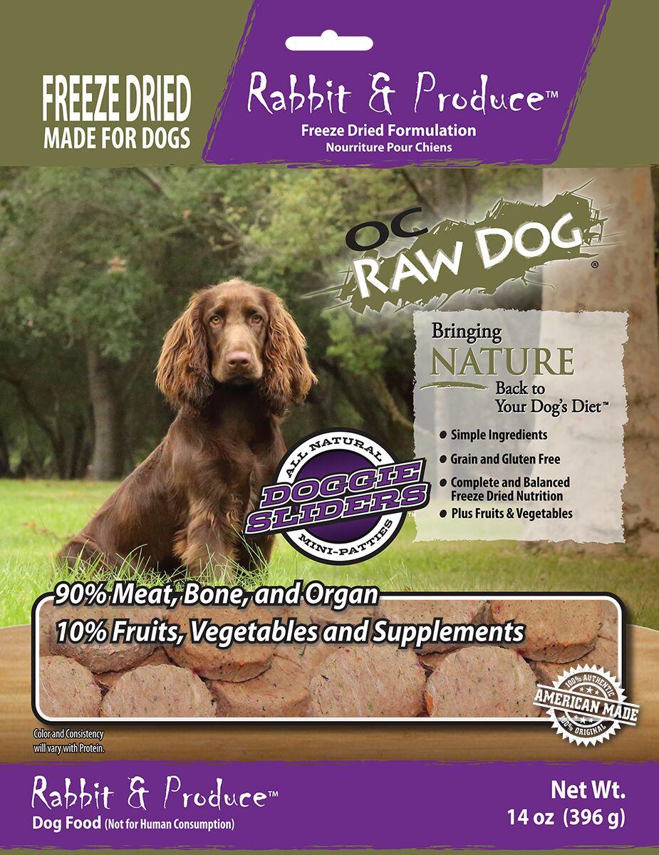 OC Raw Dog Rabbit & Produce Sliders Raw Freeze-Dried Dog Food, 14-oz