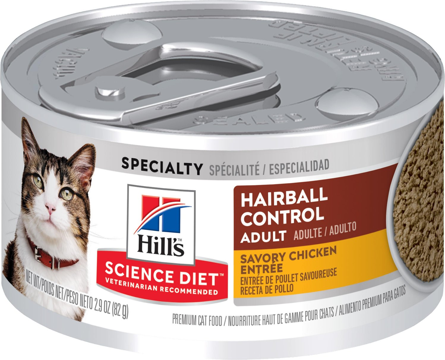 Hill's Science Diet Adult Hairball Control Savory Chicken Entree Canned Cat Food, 5.5-oz