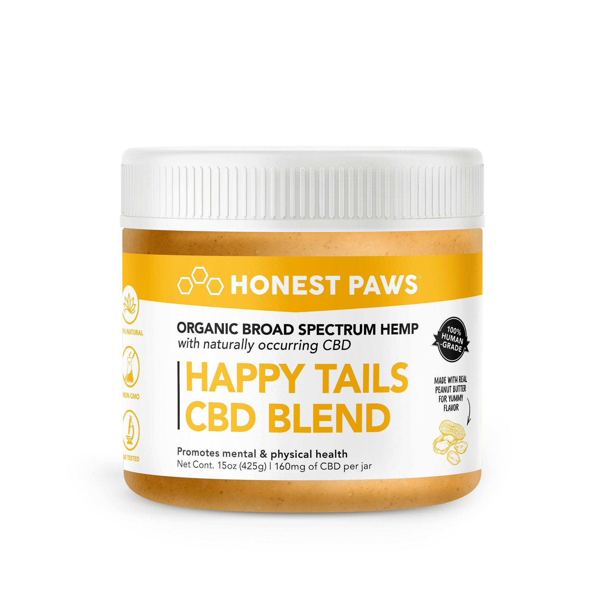 Honest Paws Happy Tails with Real Peanut Butter Alternative Supplement for Dogs, 15-oz