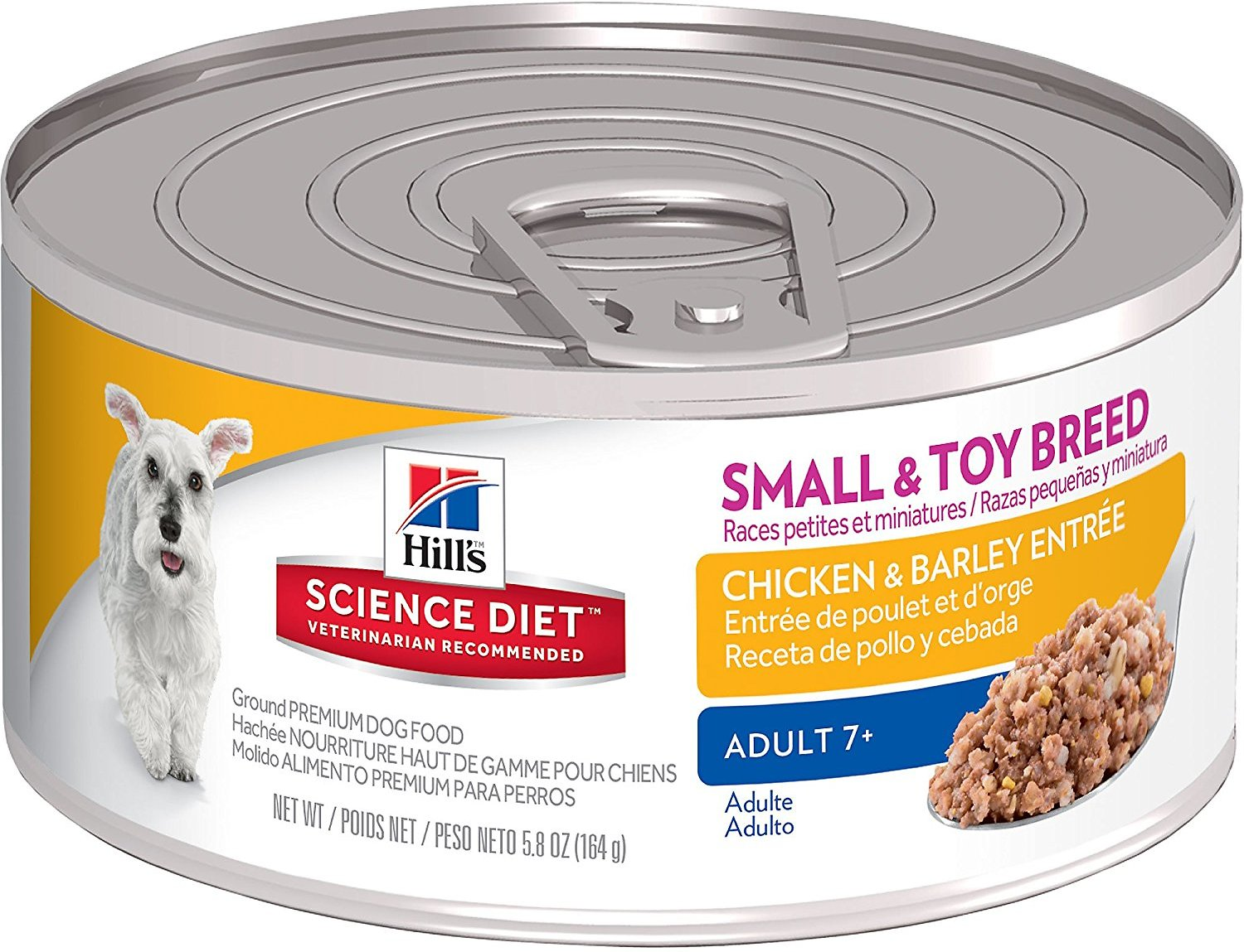 Hill's Science Diet Adult 7+ Small & Toy Breed Chicken & Barley Entree Canned Dog Food, 5.8-oz
