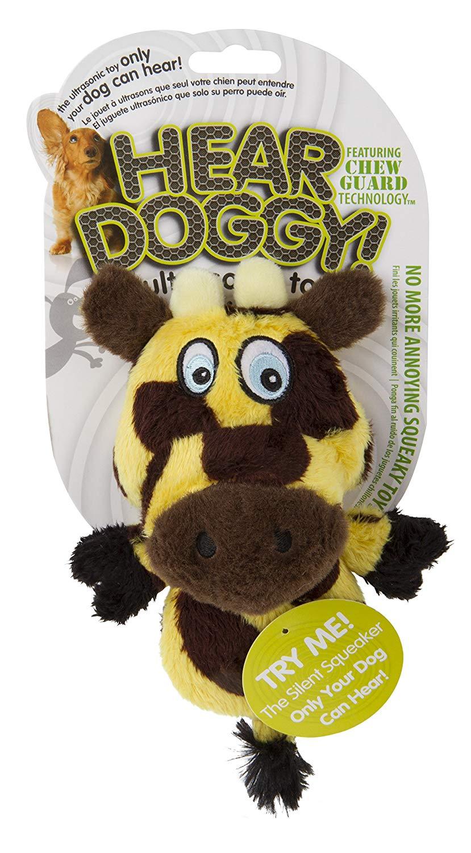 Hear Doggy Silent Squeaker Chew Guard Flattie Giraffe Dog Toy, Mini