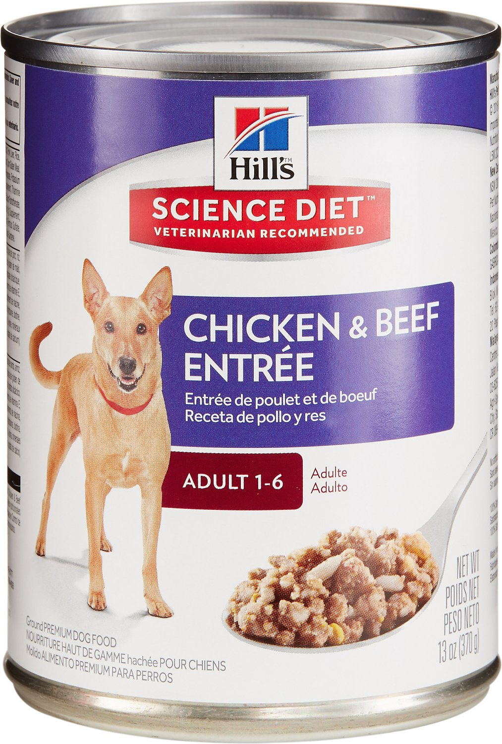 Hill's Science Diet Adult Beef & Chicken Entree Canned Dog Food, 13-oz