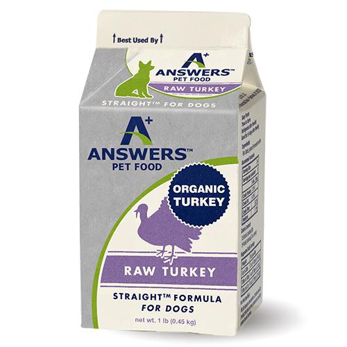 Answers Straight Formula Raw Turkey Frozen Pet Food, 1-lb