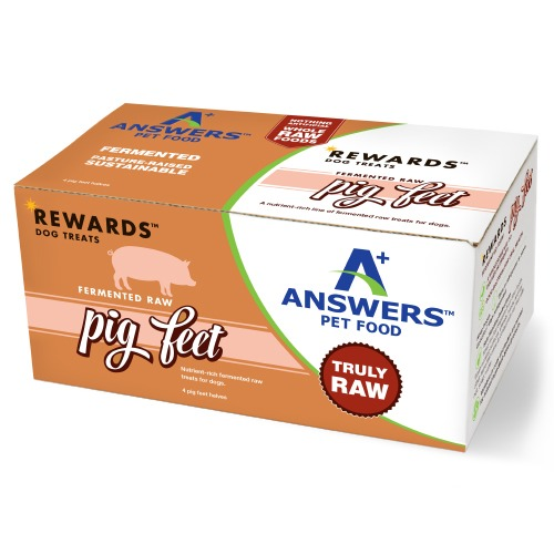 Answers Rewards Fermented Pastured Raw Pig Feet Frozen Dog Treats, 4-count
