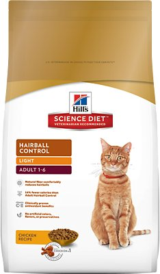 Hill's Science Diet Adult Hairball Control Light Dry Cat Food, 7-lb bag