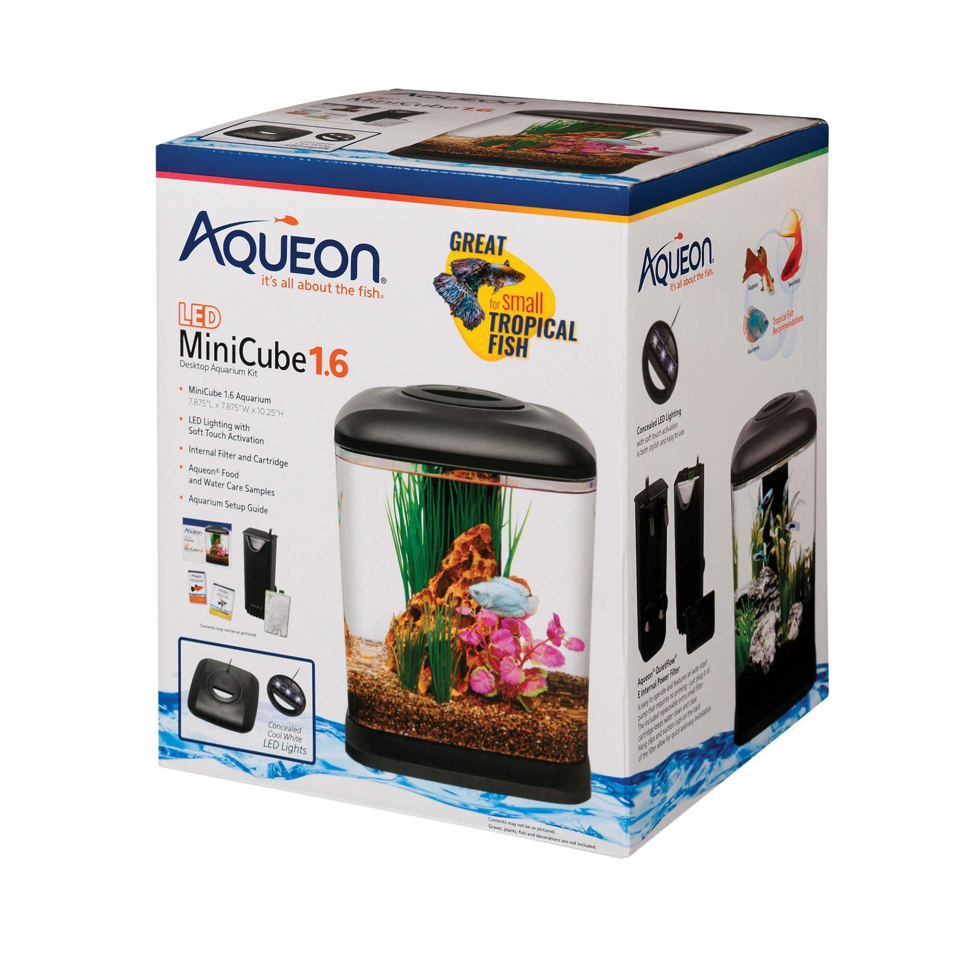 Aqueon MiniCube LED Desktop Aquarium Kit, 1.6-gallon