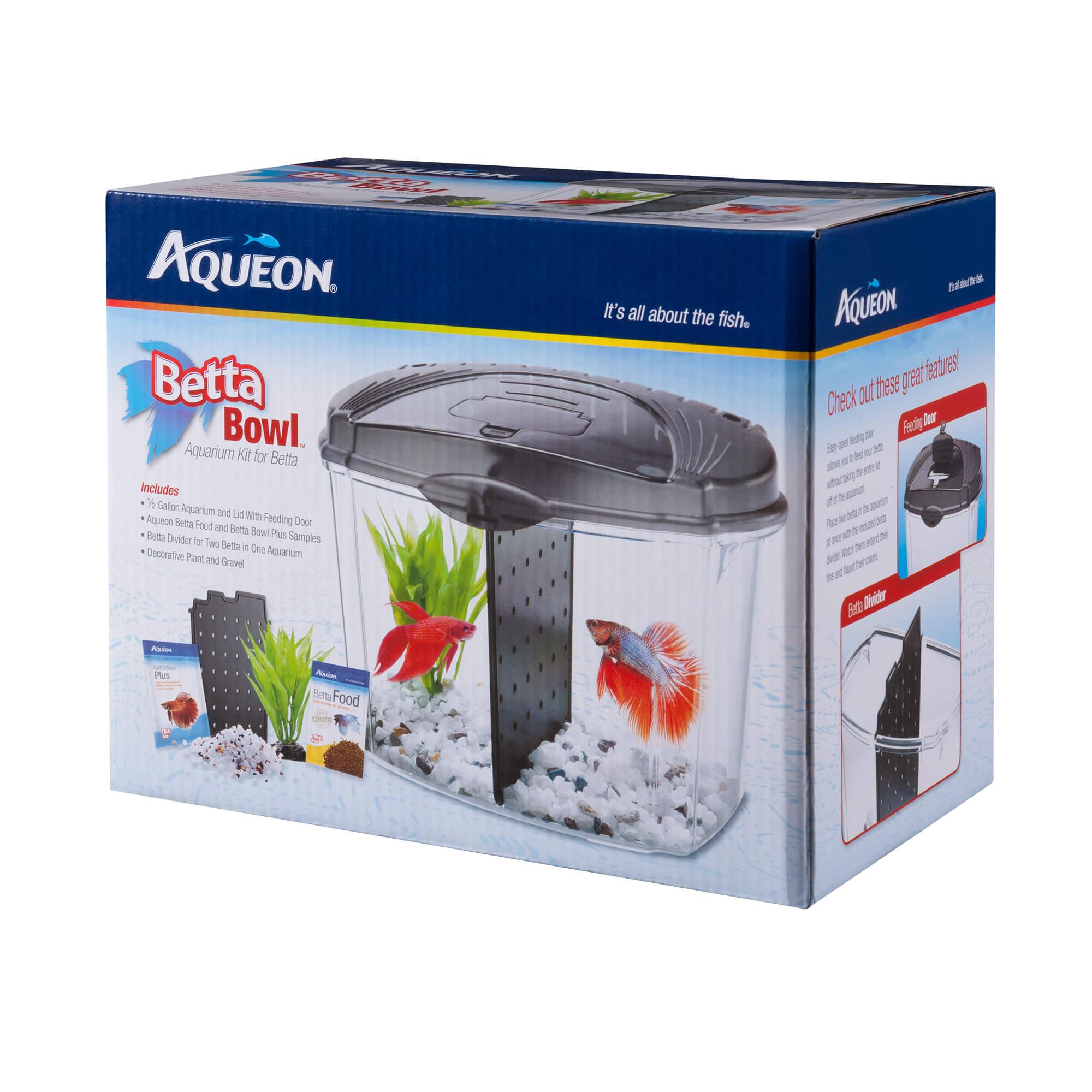 Aqueon Betta Bowl Aquarium Kits, Black, 0.5-gallon