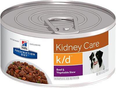 Hill's Prescription Diet k/d Kidney Care Beef & Vegetable Stew Canned Dog Food, 5.5-oz, case of 24