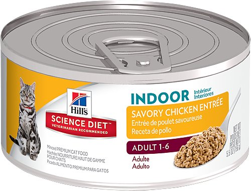 Hill's Science Diet Adult Indoor Savory Chicken Entree Canned Cat Food, 5.5-oz