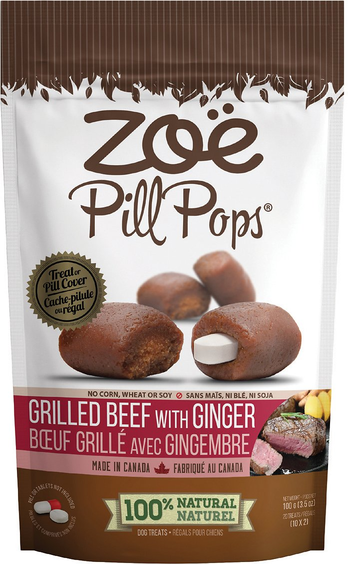Zoe Pill Pop Grilled Beef with Ginger Dog Treats, 3.5-oz bag