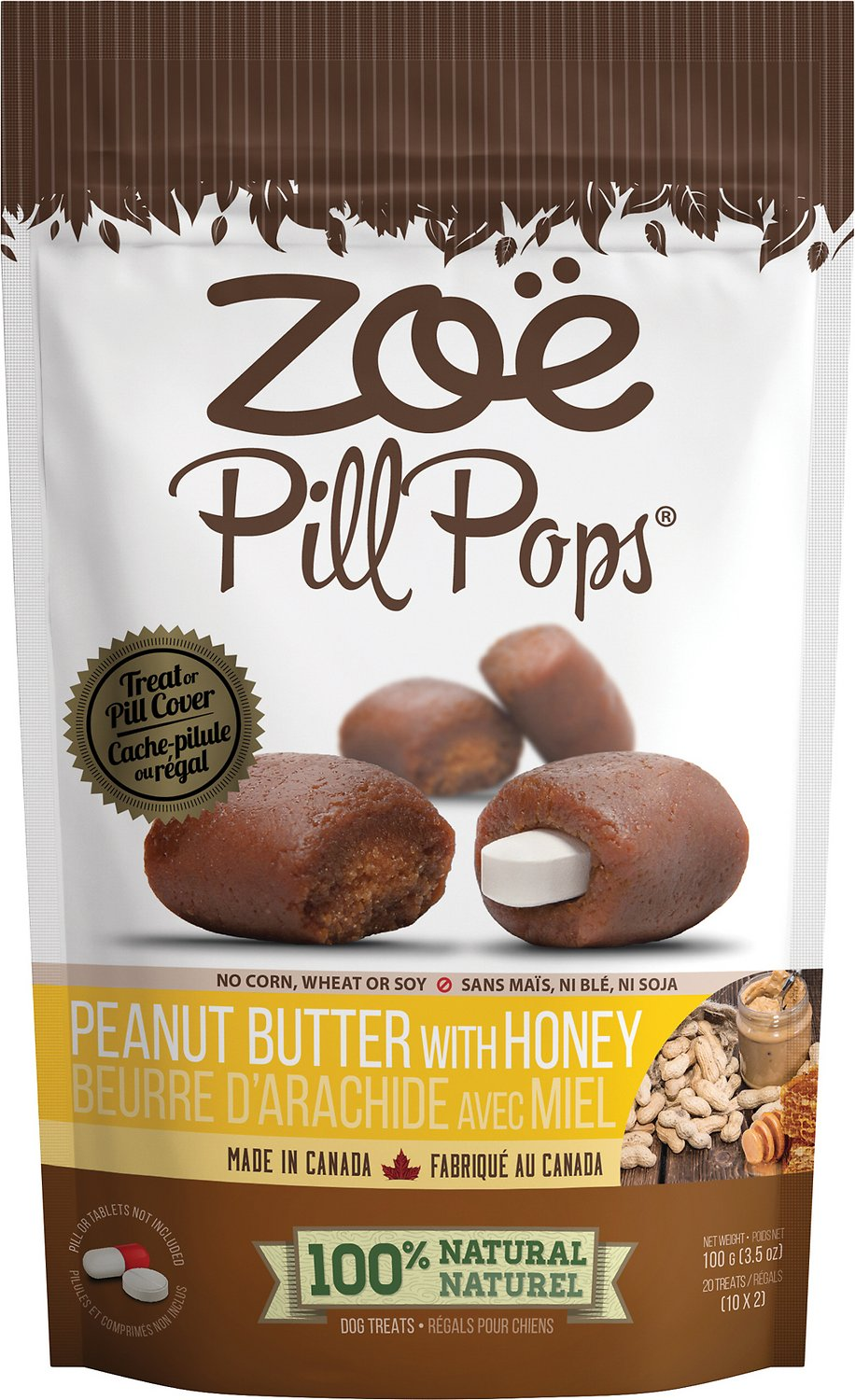 Zoe Pill Pops Peanut Butter with Honey Dog Treats, 3.5-oz bag