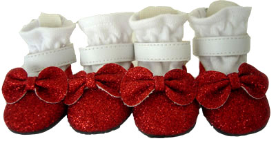 PAMPET / Puppe Love Dog Shoes, Red Glitter Shoes, Size 0